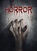 Horror Scene. Hand on wall backround. Poster, cover concept