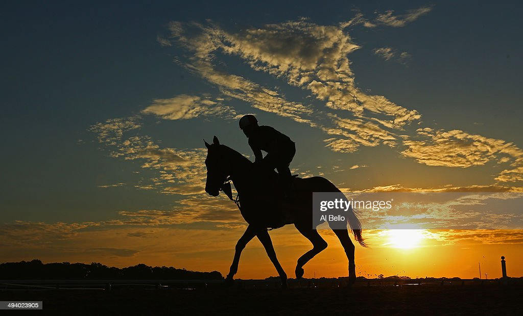 A horse and exercise rider train during sunrise at Belmont Park on May 27, 2014 in Elmont, New York.