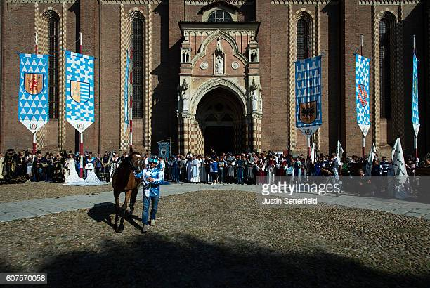 Horse and Jockey are blessed outside the Cathedral ahead of the Palio on September 18 2016 in Asti Italy The Palio di Asti is a traditional Italian...