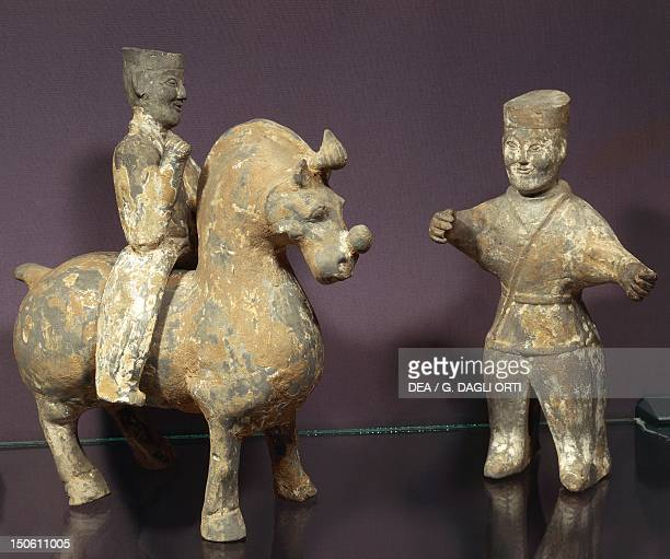 Horse and rider with groom painted terracotta statues China Chinese Civilisation Wu Kingdom 3rd century