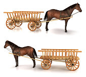 Horse and wagon. 3d illustration. Isolated on white. Set