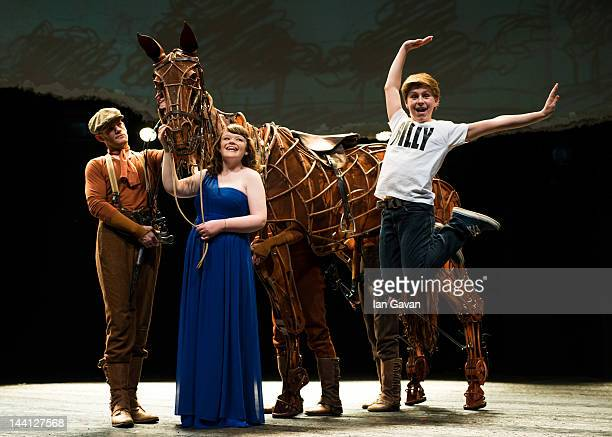 Horse Animator Curtis Jordan blind singer Lissa Hermans and actor Adam Vesperman as Billy Elliot appear on stage together with the lifesize horse...