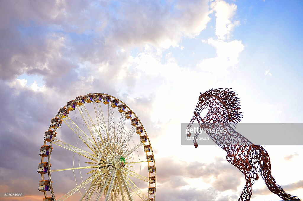 A horse art installation is seen near the ferris wheel during 2016 Stagecoach California's Country Music Festival at Empire Polo Club on May 01, 2016 in Indio, California.
