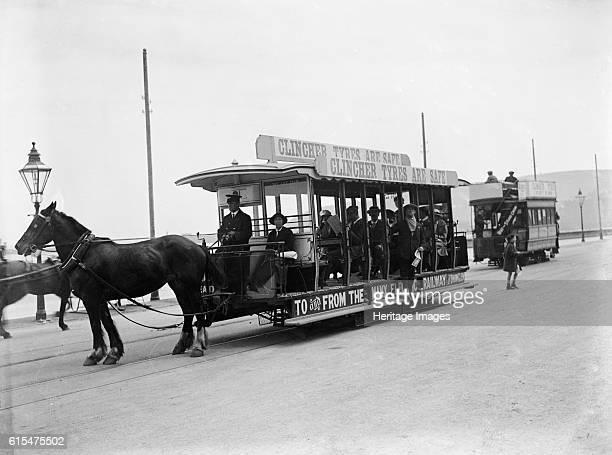 Horse bus at the RAC TT race Isle of Man 10 June 1914 Artist Bill Brunell