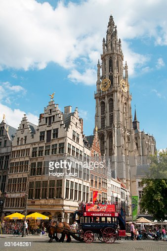 Horse carriage at Grote Markt with Cathedral