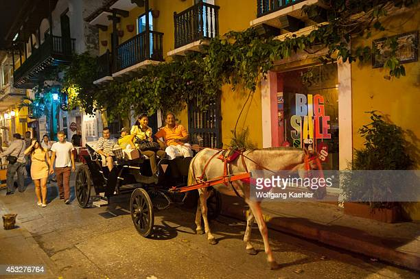 Horse carriage at night in Cartagena Colombia a walled city and Unesco World Heritage Site