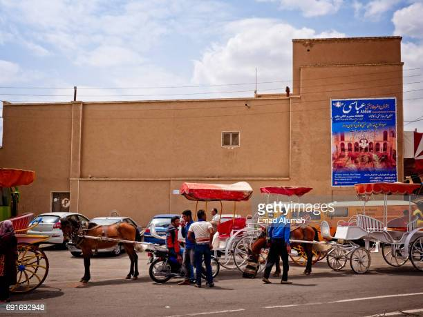 Horse carriages in old town Kashan, Iran - April 28, 2017