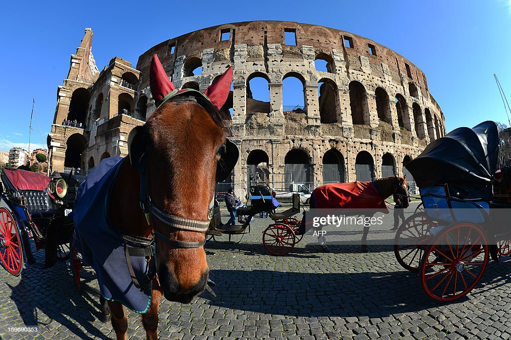 Horse carriages wait in front of the Colosseum on January 18, 2013 in Rome. Traces of decorations in blue, red and greenwere found in a corridor currently closed to the public while archaeologists were working to restore an area between the second and third floor of the Colosseum, which has fallen into disrepair in recent years.