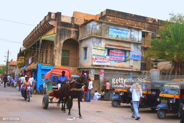 Horse cart and market, Fatehpur Shekhavati, Rajasthan, India