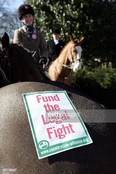 A horse displays a campaign poster at the start of the Avon Vale Hunt at Monk's Park on February 19 2005 near Corsham Wiltshire England Some hunts...
