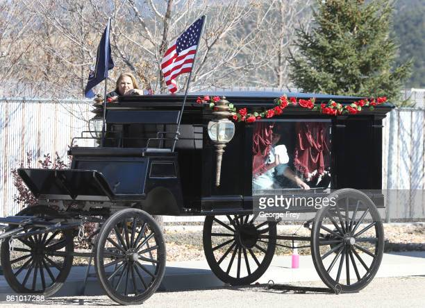 A horse drawn carriage is prepared for use at the funeral of Heather Lorraine Alvarado on October 13 2017 in Enoch Utah Alvarado was a 35 year old...
