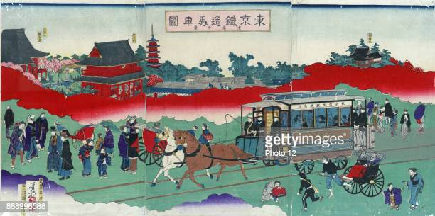 Horse drawn carriage on railroad tracks Print shows a westernstyle horse drawn railroad passenger car with passengers