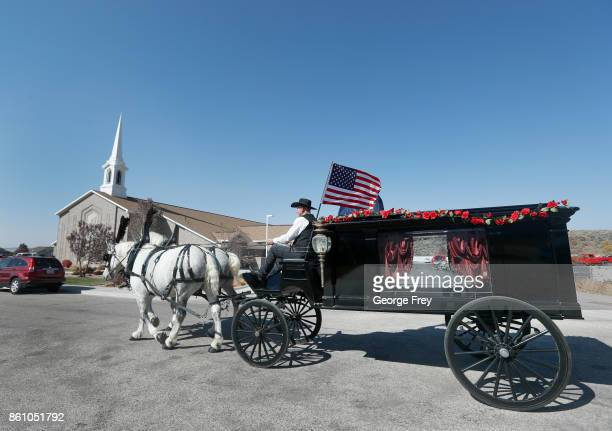 A horse drawn hurst arrives for the funeral of Heather Lorraine Alvarado on October 13 2017 in Enoch Utah Alvarado was a 35 year old wife and mother...
