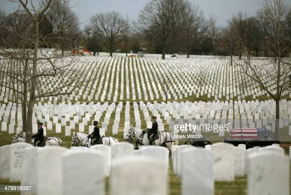 A horse drawn military caisson carries the remains of seven Vietnam service members during a full honors funeral service at Arlington National...