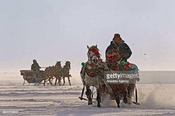 Horse drawn sleighs ride on the ice over the 'Lake Cildir' country's eastern Anatolia Region's 2nd largest lake with 123 square kilometers area as...