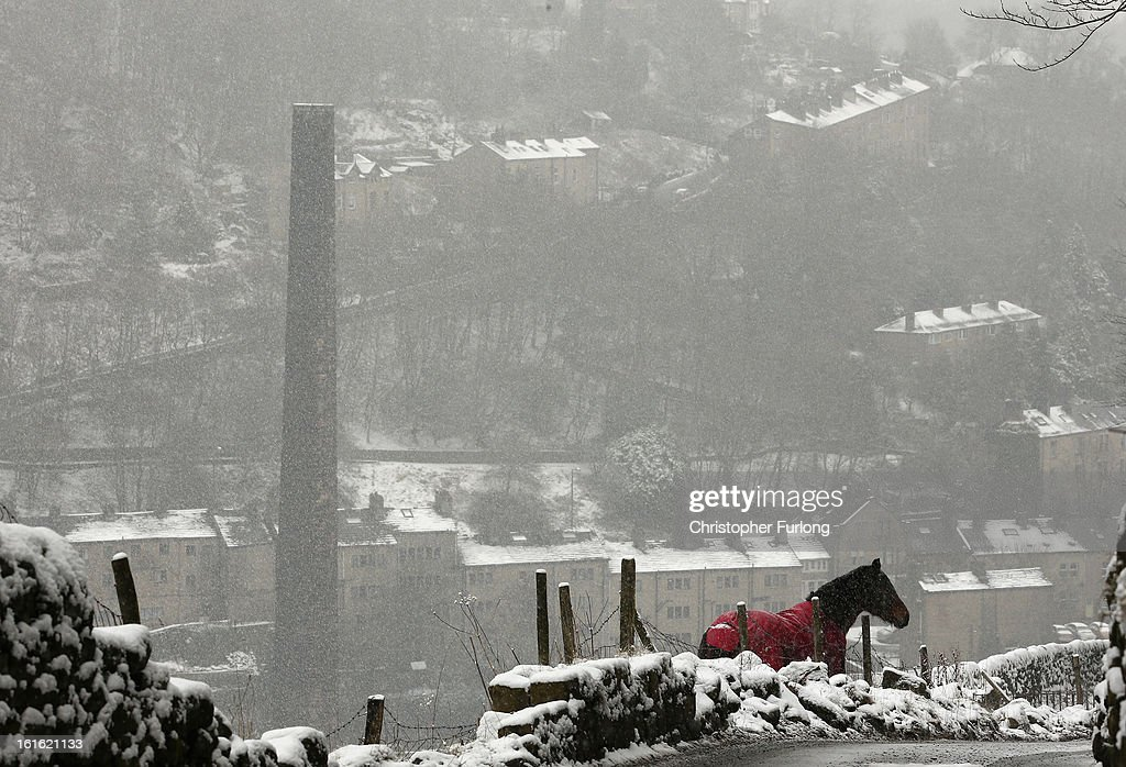 A horse grazes in a field as snow falls on the Pennine town of Hebden Bridge on February 13, 2013 in Hebden Bridge, England. Britain is again feeling the effects of snow with some parts of the country being issued with a yellow weather warning.
