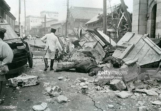 A horse is trapped by the debris after the Great Kanto Earthquake at Kyobashi area in September 1923 in Tokyo Japan The estimated Magnitude 79 strong...