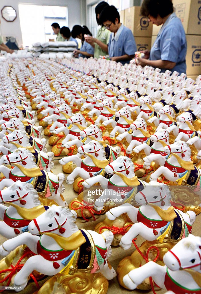 Horse ornaments, that is next year's zodiac sign, production in full swing on September 19, 2013 in Seto, Aichi, Japan.