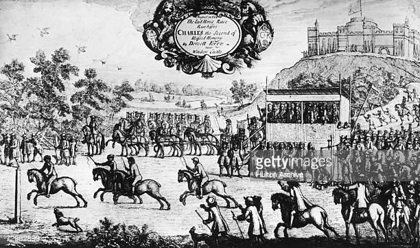 A horse race takes place near Windsor Castle Berkshire in the presence of King Charles II of England 14th August 1684 Engraving by Francis Barlow 1687