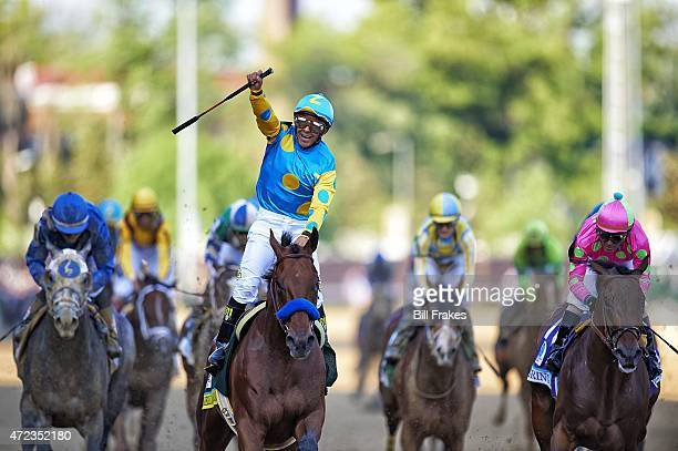 141st Kentucky Derby Victor Espinoza victorious aboard American Pharoah after winning race at Churchill Downs Louisville KY 5/2/2015 CREDIT Bill...