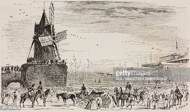Horse racing at the Bois de Boulogne engraving by E Lefebvre based on a drawing by E Morin from ParisGuide by leading writers and artists of France...