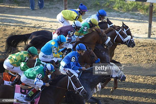 Belmont Stakes Victor Espinoza in action aboard American Pharoah during race at Belmont Park American Pharoah wins Triple Crown Elmont NY CREDIT Bill...