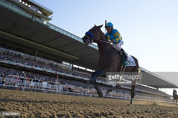 Belmont Stakes Victor Espinoza in action aboard American Pharoah during race at Belmont Park American Pharoah wins Triple Crown Elmont NY 6/6/2015...