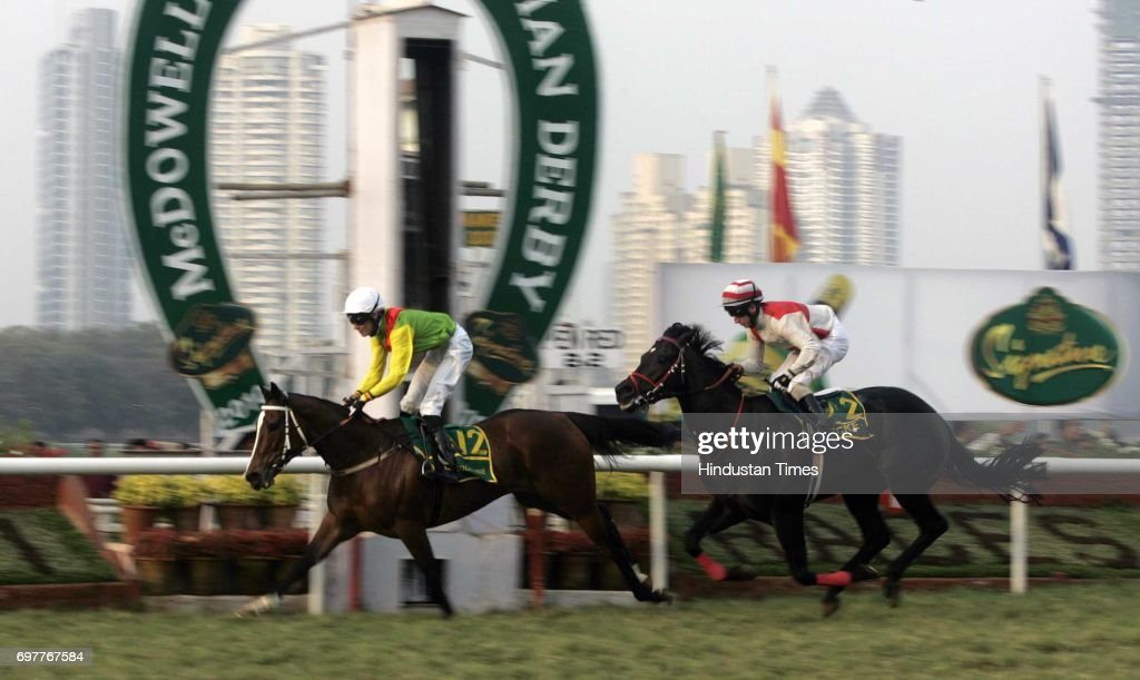 Horse Racing Derby History Mahalaxmi Racecourse Jacqueline, ridden by Irish jockey Richard Hughes, goes past the winning post ahead of Becket, ridden by Englishman Martin Dwyer in the McDowell Signature Indian Derby on Sunday.