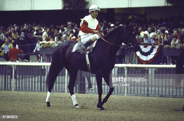 Horse Racing Great Match Race Jacinito Vasquez aboard Ruffian before race vs Foolish Pleasure at Belmont Park Elmont NY 7/6/1975