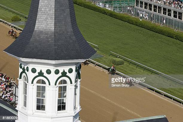 Horse Racing Kentucky Derby Aerial view of Kent Desormeaux in action aboard Big Brown vs Gabriel Saez aboard Eight Belles during race at Churchill...