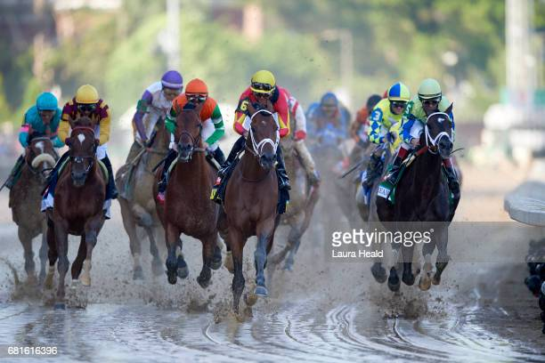Kentucky Derby John Velazquez in action aboard Always Dreaming in action vs Jose Lezcano in action aboard State of Honor during race at Churchill...