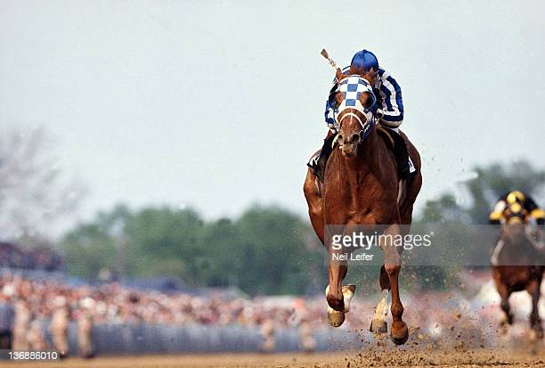 Horse Racing Kentucky Derby Ron Turcotte in action winning race aboard Secretariat at Churchill Downs Louisville KY 5/5/1973 CREDIT Neil Leifer