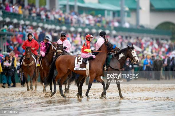 Kentucky Oaks Mike Smith on Abel Tasman before race at Churchill Downs Louisville KY CREDIT Laura Heald