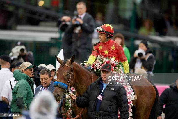 Kentucky Oaks Mike Smith victorious on Abel Tasman after winning race at Churchill Downs Louisville KY CREDIT Laura Heald