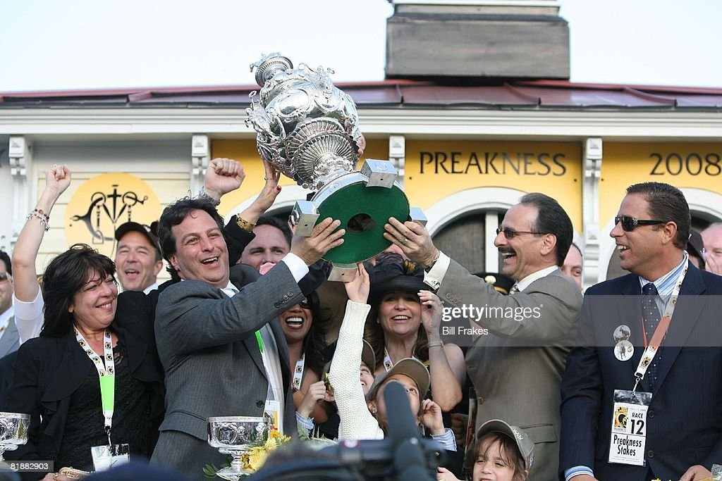 Preakness Stakes, Big Brown owners Michael Ivarone (L) and Richard J, Shiavo (R) victorious with Woodlawn Vase trophy after winning race at Pimlico Race Course, Baltimore, MD 5/17/2008