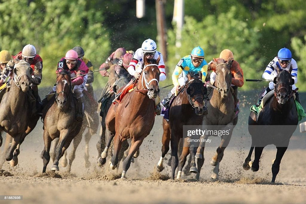 Preakness Stakes, Kent Desormeaux in action, taking lead at top of the stretch aboard Big Brown (7) during race at Pimlico Race Course, Baltimore, MD 5/17/2008