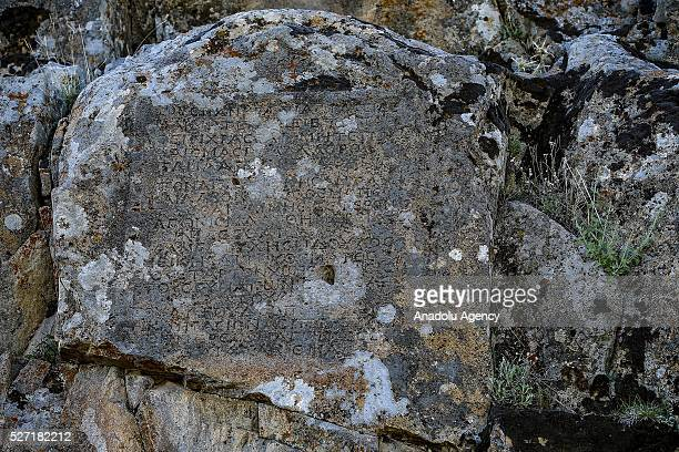 Horse racing rules tablet is seen at Lukyanus monument builded during the Roman Pagan period Beysehir district of Konya Turkey on May 2 2016