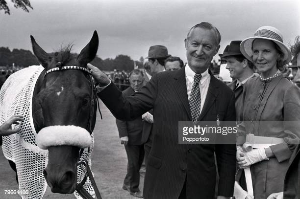 Horse Racing Surrey England 24th July 1971 Mill Reef winning horse in the George VI and Queen Elizabeth stakes at Ascot receives a pat from American...