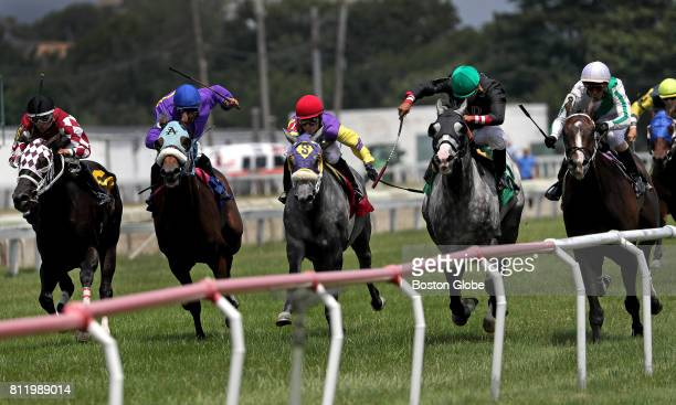 Horse racing takes place at Suffolk Downs in East Boston on Jul 8 2017 It was one of six days on which the track will host racing this year The HYM...