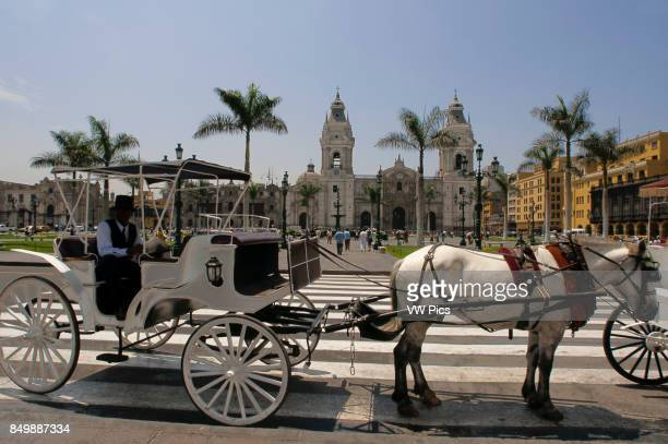 Horse ride carriage at Plaza de Armas square Plaza Mayor Peru South America