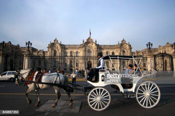 Horse ride carriage in front of the cathedral at Plaza de Armas square Plaza Mayor Peru South America