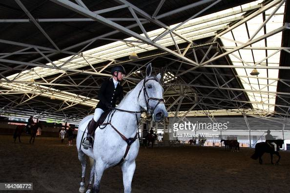 Horse riders prepare to show at the Schmidt Arena during the Sydney Royal Easter Show on March 22 2013 in Sydney Australia Organisers are expecting...