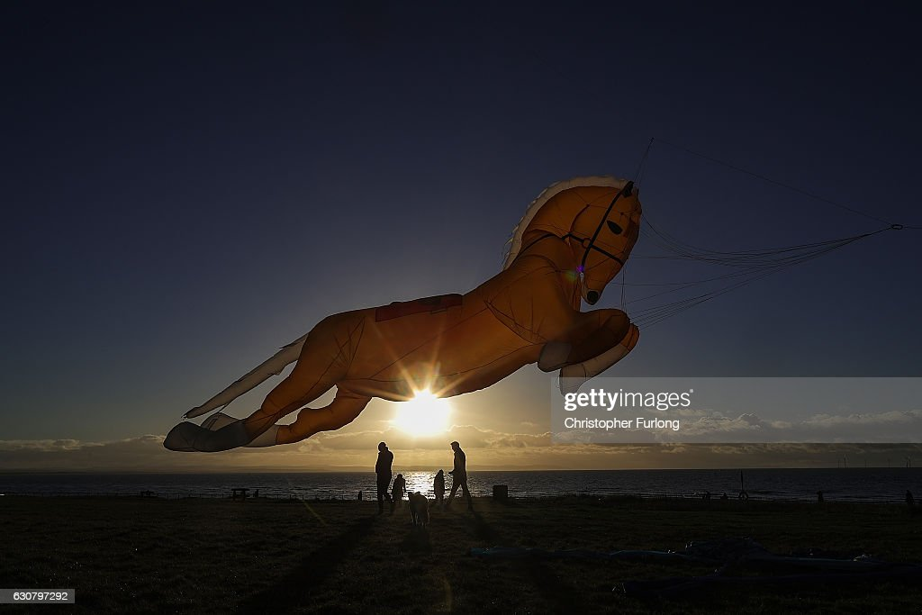 A horse shaped kite named Goldey takes to the sky as enthusiasts from the Northern Kite Group take advantage of the good weather to fly their kites at Crosby beach on January 2, 2017 in Crosby, England.