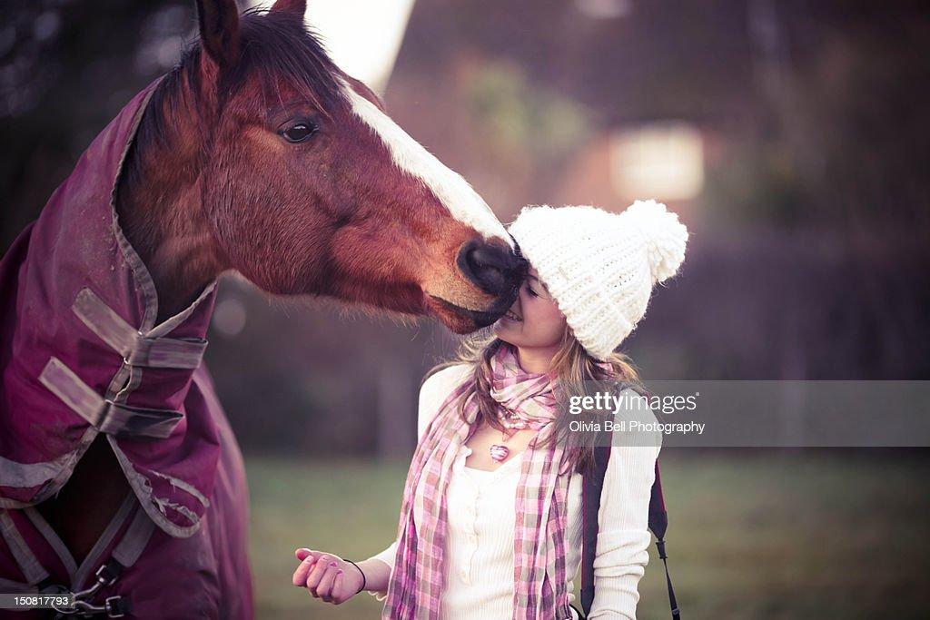 Horse touching girls nose : Stock Photo