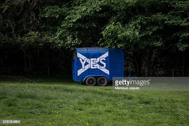 A horse trailer has been painted with the Scottish flag and the words YES which is the slogan of the YES campaign for Scottish Independance Views and...