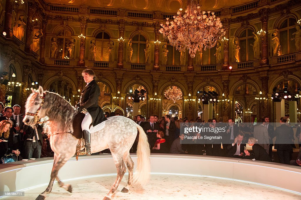 Horse trained by Mario Luraschi performs during a show at Grand Hotel during a cocktail following Jaeger-LeCoultre Vendome Boutique Opening at Jaeger-LeCoultre Boutique on November 20, 2012 in Paris, France.