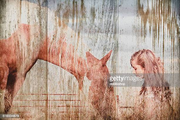 Horse & Young Girl Image Faded Into Textured Wood Surface