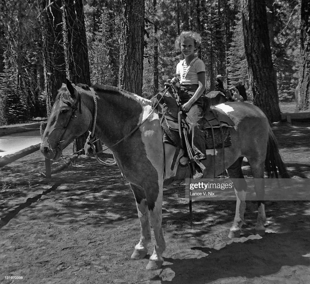Horseback riding at Camp Fresno : Stock Photo