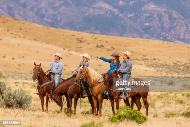 Cheval équitation groupe dans le pays de l'Utah