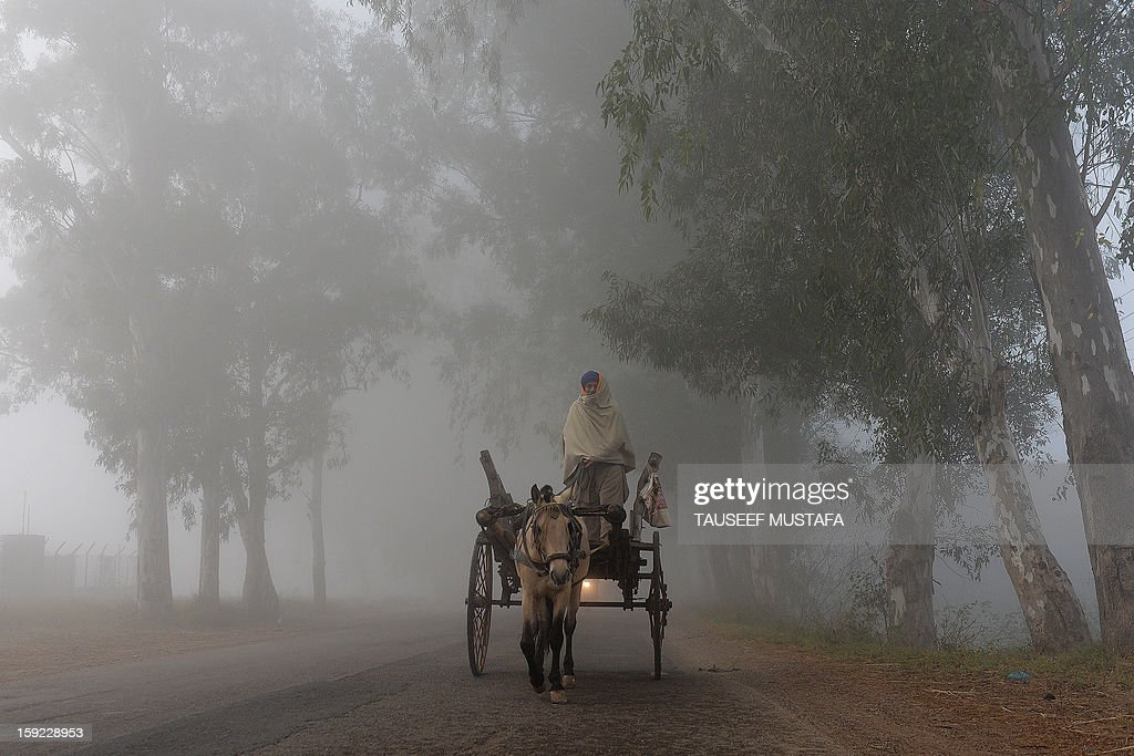 A horse-cart driver rides along a foggy road near the India-Pakistan border in Suchit-Garh, 36 kms southwest of Jammu, on January 10, 2013. The beheading of an Indian soldier may have sparked a war of words between Delhi and Islamabad but the two nuclear rivals are both determined to prevent it from wrecking a fragile peace process. Two Indian soldiers died after a firefight erupted in disputed Kashmir on Tuesday as a patrol moving in fog discovered Pakistani troops about 500 metres (yards) inside Indian territory, according to the Indian army. AFP PHOTO/Tauseef MUSTAFA
